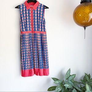 ModCloth Just My Typist Pleated Chevron Dress